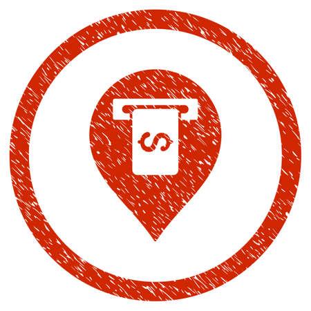 Icône de texture granuleuse pointeur Terminal à l'intérieur du cercle pour les timbres de filigrane de superposition. Symbole plat avec une texture sale.