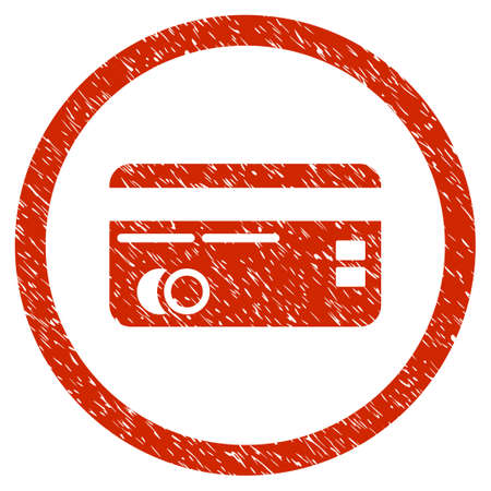 Credit Card grainy textured icon inside circle for overlay watermark stamps. Flat symbol with dust texture. Circled dotted raster red ink rubber seal stamp with grunge design on a white background. Stock Photo