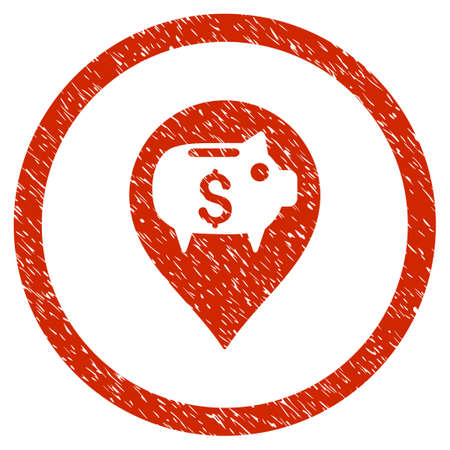 Bank Pointer grainy textured icon inside circle for overlay watermark stamps. Flat symbol with unclean texture.