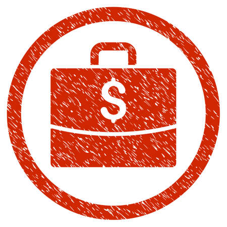 Business Case grainy textured icon inside circle for overlay watermark stamps. Flat symbol with unclean texture. Illustration