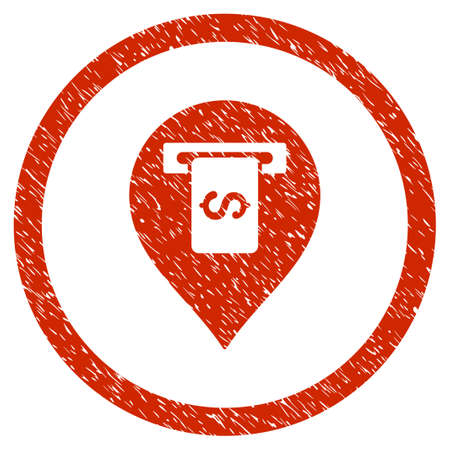 Cash Terminal Pointer grainy textured icon inside circle for overlay watermark stamps. Flat symbol with unclean texture.