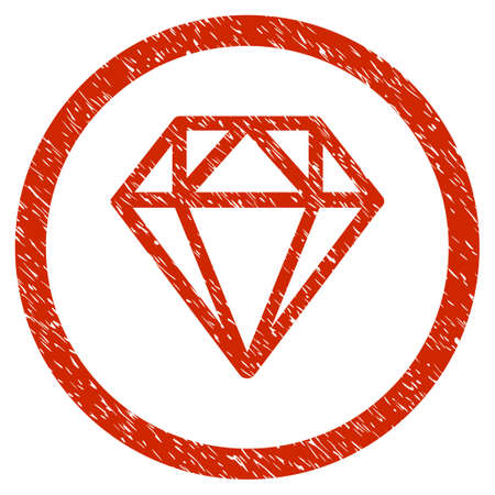 Diamond grainy textured icon inside circle for overlay watermark stamps. Flat symbol with scratched texture. Circled dotted vector red ink rubber seal stamp with grunge design on a white background.