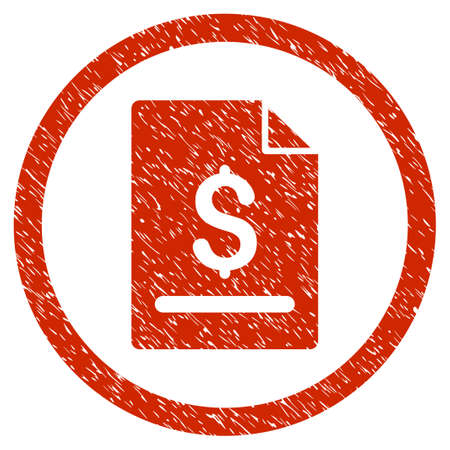 treaty: Invoice Page grainy textured icon inside circle for overlay watermark stamps. Flat symbol with dirty texture. Circled dotted vector red ink rubber seal stamp with grunge design on a white background.