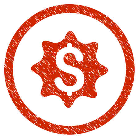 Money Award grainy textured icon inside circle for overlay watermark stamps. Flat symbol with dirty texture. Circled dotted vector red ink rubber seal stamp with grunge design on a white background.