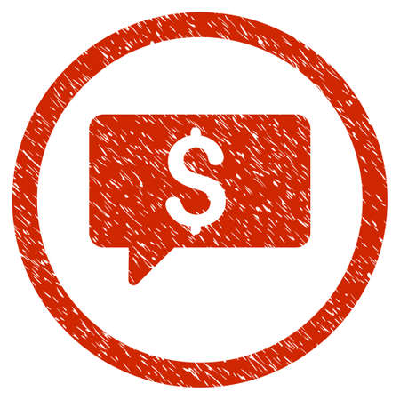 Money Message grainy textured icon inside circle for overlay watermark stamps. Flat symbol with unclean texture.