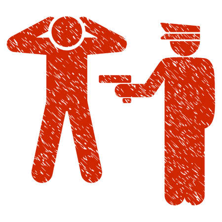 prison guard: Grunge Arrest icon with grunge design and unclean texture. Unclean vector red pictogram for rubber seal stamp imitations and watermarks. Draft emblem symbol.