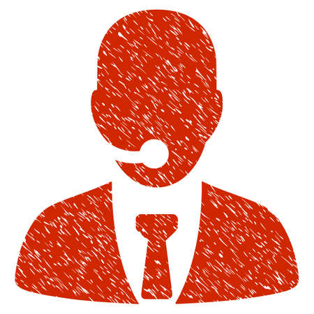 hotline: Grunge Call Center Manager icon with grunge design and unclean texture. Unclean vector red pictogram for rubber seal stamp imitations and watermarks. Draft sign symbol.