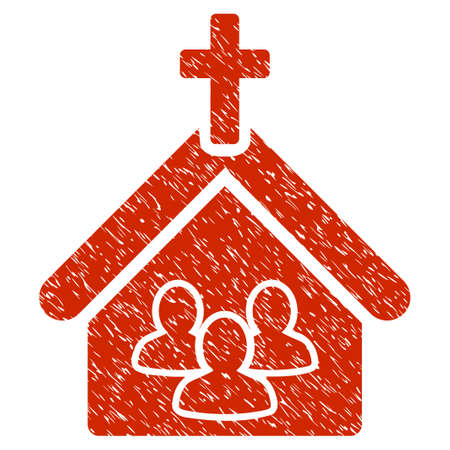 church group: Grunge Church icon with grunge design and scratched texture. Unclean vector red pictogram for rubber seal stamp imitations and watermarks. Draft sticker symbol. Illustration