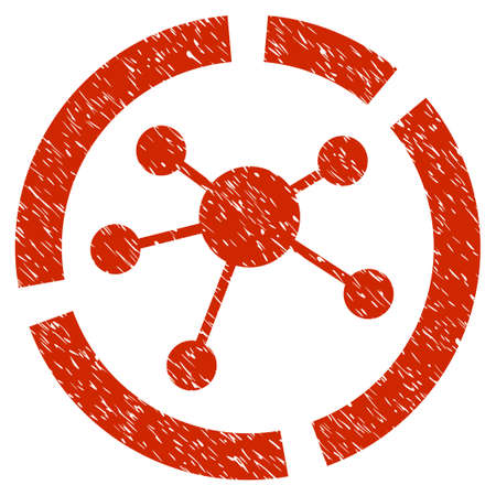 Grunge Connections Diagram icon with grunge design and dirty texture. Unclean vector red pictogram for rubber seal stamp imitations and watermarks. Draft emblem symbol.