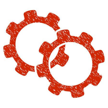 Grunge Gears icon with grunge design and dust texture. Unclean vector red pictogram for rubber seal stamp imitations and watermarks. Draft sign symbol.