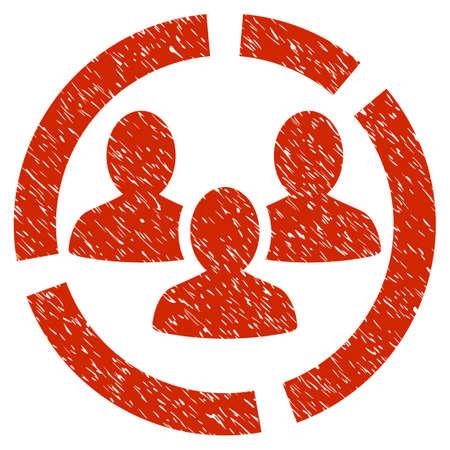 demografia: Grunge Demografía Diagrama icono con el diseño del grunge y la textura sucia. Pictograma rojo impuro del vector para las imitaciones y las marcas de agua del sello del sello de goma. Símbolo de signo de borrador. Vectores
