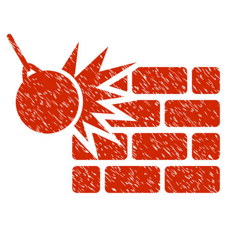 Grunge Destruction icon with grunge design and dirty texture. Unclean vector red pictogram for rubber seal stamp imitations and watermarks. Draft emblem symbol.
