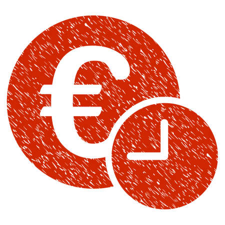 Grunge Euro Credit icon with grunge design and dirty texture. Unclean vector red pictogram for rubber seal stamp imitations and watermarks. Draft sticker symbol. Illustration