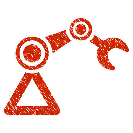 Grunge Manipulator Equipment icon with grunge design and unclean texture. Unclean vector red pictogram for rubber seal stamp imitations and watermarks. Draft emblem symbol. Illustration