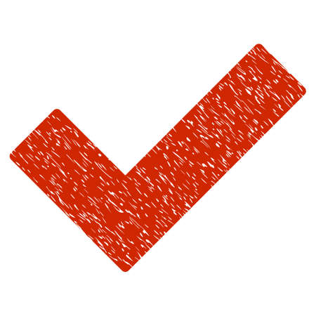 Grunge Ok Tick icon with grunge design and scratched texture. Unclean vector red pictogram for rubber seal stamp imitations and watermarks. Draft emblem symbol.