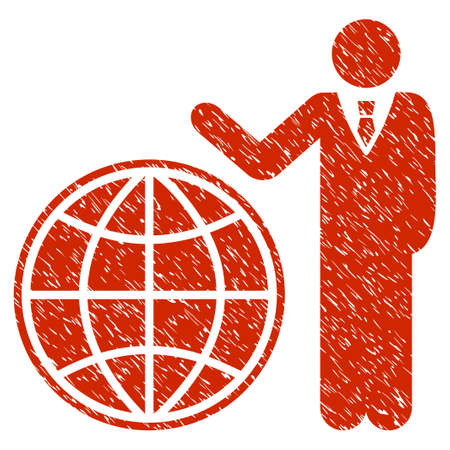 navigator: Grunge Planetary Manager icon with grunge design and scratched texture. Unclean vector red pictogram for rubber seal stamp imitations and watermarks. Draft sign symbol. Illustration