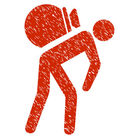 Grunge Porter icon with grunge design and scratched texture. Unclean vector red pictogram for rubber seal stamp imitations and watermarks. Draft sign symbol.