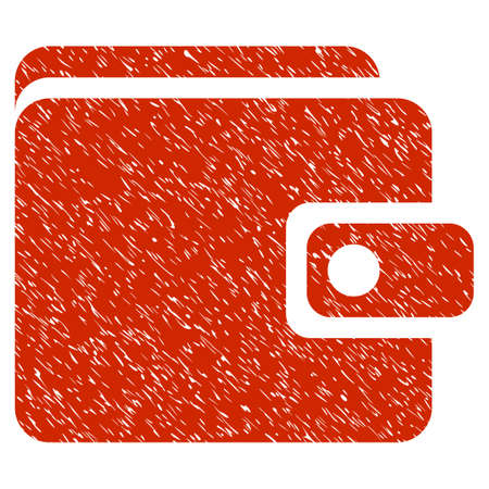 Grunge Wallet icon with grunge design and dust texture. Unclean vector red pictogram for rubber seal stamp imitations and watermarks. Draft emblem symbol. Illustration