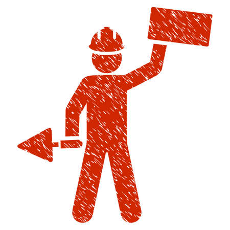 architect tools: Grunge Builder With Brick icon with grunge design and dust texture. Unclean raster red pictogram for rubber seal stamp imitations and watermarks. Draft sign symbol.