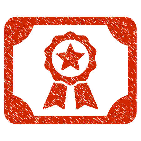 Grunge Certificate icon with grunge design and dirty texture. Unclean raster red pictogram for rubber seal stamp imitations and watermarks. Draft sticker symbol. Stock Photo