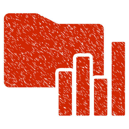 Grunge Charts Folder icon with grunge design and dust texture. Unclean raster red pictogram for rubber seal stamp imitations and watermarks. Draft sign symbol.