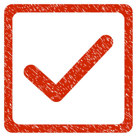 marked boxes: Grunge Checkbox icon with grunge design and unclean texture. Unclean raster red pictogram for rubber seal stamp imitations and watermarks. Draft sticker symbol. Stock Photo