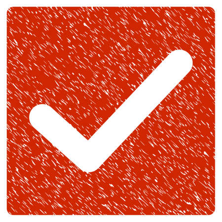 Grunge Check icon with grunge design and unclean texture. Unclean raster red pictogram for rubber seal stamp imitations and watermarks. Draft sticker symbol. Stock Photo