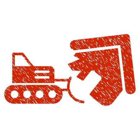quake: Grunge Demolition icon with grunge design and dust texture. Unclean raster red pictogram for rubber seal stamp imitations and watermarks. Draft sticker symbol.