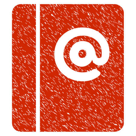 Grunge Emails icon with grunge design and dirty texture. Unclean raster red pictogram for rubber seal stamp imitations and watermarks. Draft emblem symbol. Stock Photo