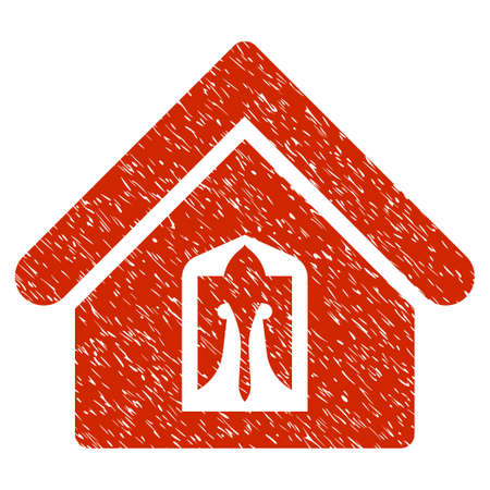 Grunge Home icon with grunge design and dust texture. Unclean raster red pictogram for rubber seal stamp imitations and watermarks. Draft sticker symbol.