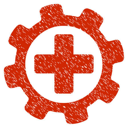Grunge Medical Settings icon with grunge design and unclean texture. Unclean raster red pictogram for rubber seal stamp imitations and watermarks. Draft sticker symbol. Stok Fotoğraf