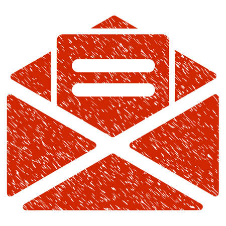 Grunge Open Mail icon with grunge design and scratched texture. Unclean raster red pictogram for rubber seal stamp imitations and watermarks. Draft emblem symbol.