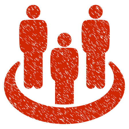 Grunge Social Group icon with grunge design and unclean texture. Unclean raster red pictogram for rubber seal stamp imitations and watermarks. Draft sign symbol.