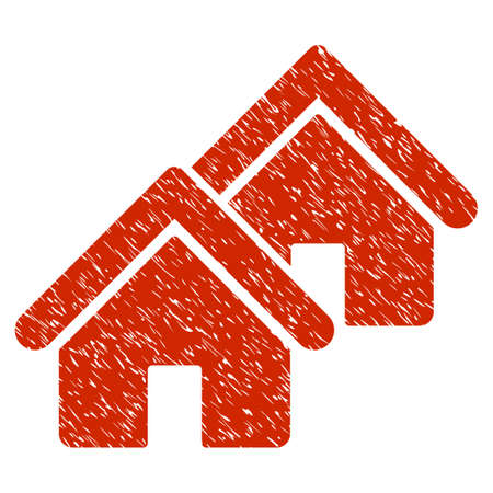 rural development: Grunge Realty icon with grunge design and scratched texture. Unclean raster red pictogram for rubber seal stamp imitations and watermarks. Draft emblem symbol. Stock Photo