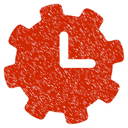 Grunge Time Settings icon with grunge design and scratched texture. Unclean raster red pictogram for rubber seal stamp imitations and watermarks. Draft emblem symbol. Stock Photo