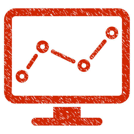 old pc: Grunge Trend Monitoring icon with grunge design and scratched texture. Unclean raster red pictogram for rubber seal stamp imitations and watermarks. Draft emblem symbol.