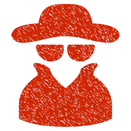Grunge Spy icon with grunge design and scratched texture. Unclean raster red pictogram for rubber seal stamp imitations and watermarks. Draft emblem symbol. Stock Photo