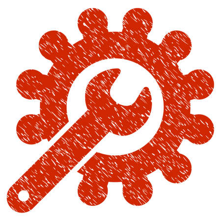Grunge Wrench And Gear Customization Tools icon with grunge design and dirty texture. Unclean raster red pictogram for rubber seal stamp imitations and watermarks. Draft sticker symbol.