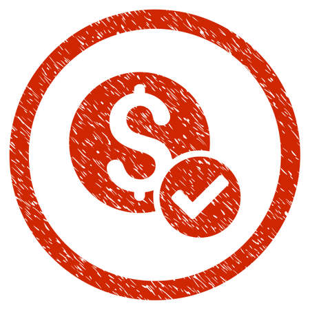 Approved Payment grainy textured icon inside circle for overlay watermark stamps. Flat symbol with unclean texture. Circled vector red rubber seal stamp with grunge design. Illustration