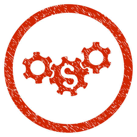 Business Gears grainy textured icon inside circle for overlay watermark stamps. Flat symbol with dirty texture. Circled vector red rubber seal stamp with grunge design.
