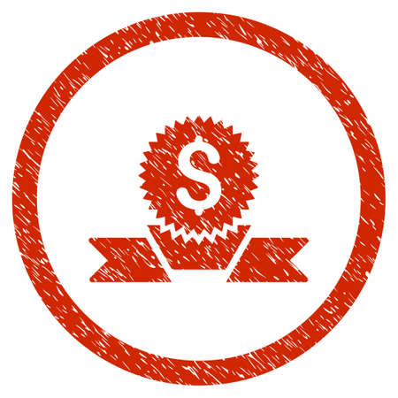 Banking Award grainy textured icon inside circle for overlay watermark stamps. Flat symbol with dust texture. Circled vector red rubber seal stamp with grunge design. Illustration