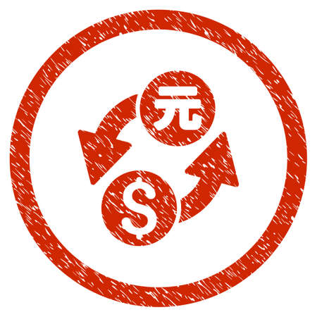 Dollar Yuan Exchange grainy textured icon inside circle for overlay watermark stamps. Flat symbol with unclean texture. Circled vector red rubber seal stamp with grunge design.