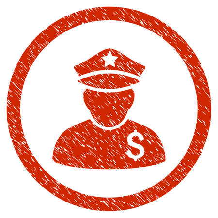 constable: Financial Policeman grainy textured icon inside circle for overlay watermark stamps. Flat symbol with scratched texture. Circled vector red rubber seal stamp with grunge design.