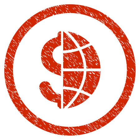 Global Business grainy textured icon inside circle for overlay watermark stamps. Flat symbol with dust texture. Circled vector red rubber seal stamp with grunge design.