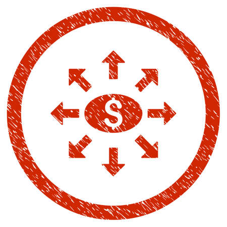 withdraw: Mass Cashout grainy textured icon inside circle for overlay watermark stamps. Flat symbol with dust texture. Circled vector red rubber seal stamp with grunge design.