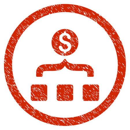 Money Aggregator grainy textured icon inside circle for overlay watermark stamps. Flat symbol with dirty texture. Circled vector red rubber seal stamp with grunge design. Illustration