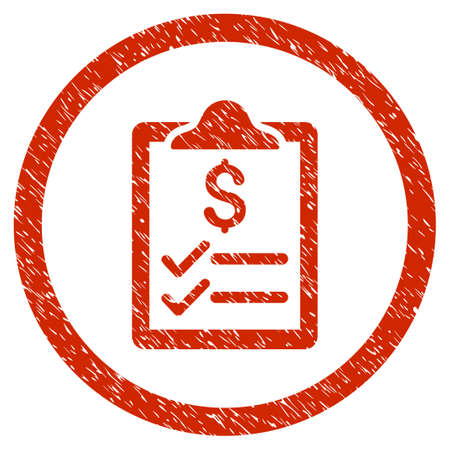 Invoice Pad grainy textured icon inside circle for overlay watermark stamps. Flat symbol with scratched texture. Circled vector red rubber seal stamp with grunge design.