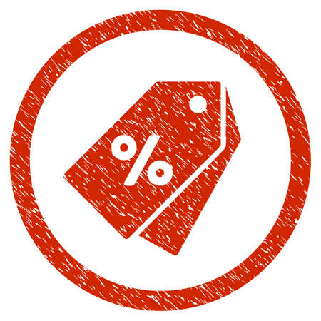 purchased: Percent Discount Tags grainy textured icon inside circle for overlay watermark stamps. Flat symbol with scratched texture. Circled vector red rubber seal stamp with grunge design.