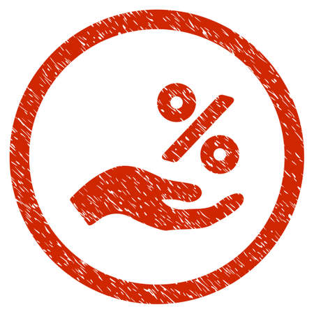 Percent Offer Hand grainy textured icon inside circle for overlay watermark stamps. Flat symbol with dust texture. Circled vector red rubber seal stamp with grunge design.