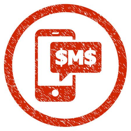 Phone SMS grainy textured icon inside circle for overlay watermark stamps. Flat symbol with dust texture. Circled vector red rubber seal stamp with grunge design. Illustration